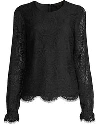 Donna Karan Garden Lace Blouse - Black
