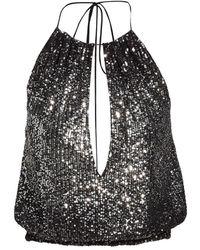 Halston Miley Sequin Halter Top - Black