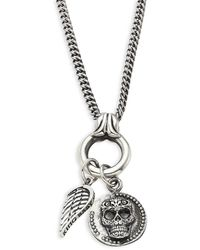 King Baby Studio Baroque Sterling Silver Baby Skull Coin & Wing Pendant Necklace - Metallic