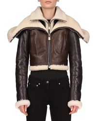 Givenchy Leather & Dyed Shearling Jacket - Black