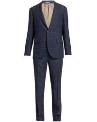 Brunello Cucinelli Windowpane Overcheck 2-piece Suit - Blue