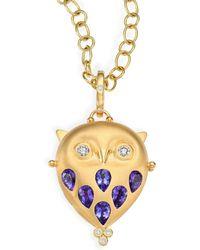 Temple St. Clair - Tanzanite, Diamond & 18k Yellow Gold Owl Locket - Lyst