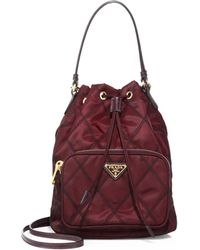 Prada - All Designer Products - Tessuto Impunturato Quilted Bucket Bag - Lyst