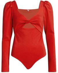 Johanna Ortiz When The Sun Goes Down Puff-sleeve Bodysuit - Red