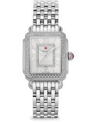 Michele Deco Madison Mid Stainless-steel Diamond Bracelet Watch - Metallic