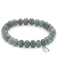 Sydney Evan - Wishbone Diamond & Blue Silverite Beaded Bracelet - Lyst