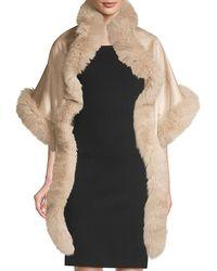 Sofia Cashmere Asymmetric Cashmere & Fox Fur-trim Wrap - Multicolor