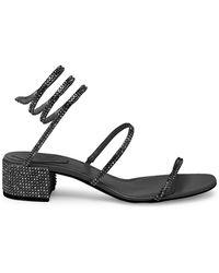Rene Caovilla Leather Block Heel Sandals - Black