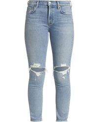 Agolde Toni Ripped Mid-rise Jeans - Blue
