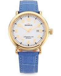 Shinola - Runwell Goldtone Stainless Steel & Alligator Strap Watch - Lyst