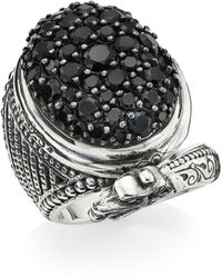 Konstantino Circe Sterling Silver & Black Spinel Dragon Ring - Metallic