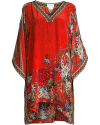 Camilla Bordered Floral Side-wrap Caftan Coverup