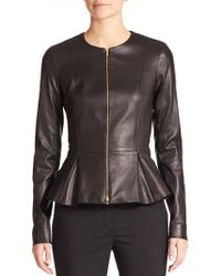 The Row - Anasta Leather Peplum Jacket - Lyst
