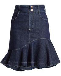 See By Chloé Flare Denim Skirt - Blue