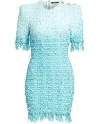 02bd8bd1 Balmain - Fringed Tie-dye Tweed Dress - Lyst