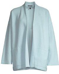 Eileen Fisher High Collar Open-front Jacket - Blue