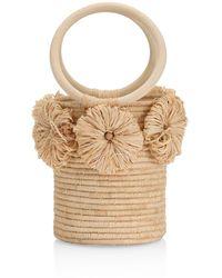 Poolside The Together Forever Floral Appliqué Raffia Bucket Bag - Natural