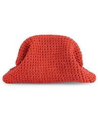 Bottega Veneta Medium The Pouch Crochet Leather Clutch - Orange