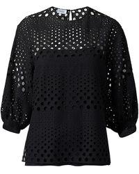 Akris Punto Eyelet Embroidered Puff-sleeve Top - Black