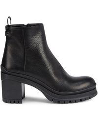 Prada 55 Leather Ankle Boots - Black