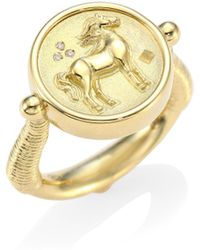 temple st clair horse diamond u0026 18k yellow gold coin ring lyst