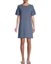 Vineyard Vines - Striped Knit Ruffle-sleeve Shift Dress - Lyst