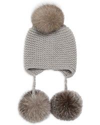Inverni - Monnalisa Double Triple Fox Fur Pom Pom Cashmere Hat - Lyst