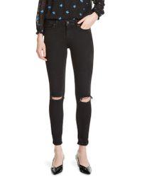 Maje - Priska Embroidered Distressed Skinny Jeans - Lyst