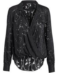 Rag & Bone Dean Floral Cross-front Shirt - Black