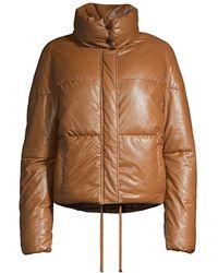 Apparis Camila Vegan Leather Puffer Jacket - Brown