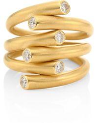 Carelle Whirl Diamond & 18k Yellow Gold Ring - Metallic