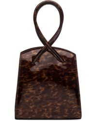 Little Liffner Twisted Tortoise Patent Leather Wristlet Bag - Brown