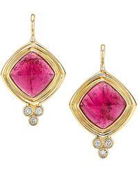 Temple St. Clair Classic Collina 18k Yellow Gold, Rubellite & Diamond Drop Earrings - Metallic