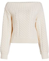 PROENZA SCHOULER WHITE LABEL Chunky Cable Knit Sweater - White
