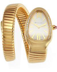 BVLGARI | Serpenti Diamond Rose Gold Single Twist Bracelet Watch | Lyst