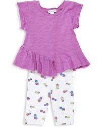 Splendid Baby Girl's Asymmetric Tee & Pineapple Leggings Set - Orchid - Purple