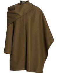 Jacquemus Women's Bibi Virgin Wool-blend Cape Coat - Khaki - Natural