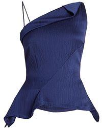 Roland Mouret Fira Hammered Satin Asymmetrical Peplum Top - Blue