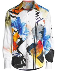 Robert Graham Limited Edition Multicolor Abstract-print Sport Shirt - Blue