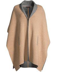 Sofia Cashmere Doubleface Cashmere Shawl Collar Knit Cape - Multicolor