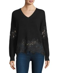 The Kooples - V-neck Jumper With Lace - Lyst