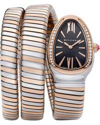 BVLGARI - Serpenti Tubogas Rose Gold, Stainless Steel & Diamond Double Twist Watch - Lyst