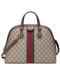 Gucci Ophidia Medium Web GG Supreme Top-handle Bag - Brown
