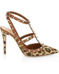 Valentino Garavani Leopard-print Rockstud Ankle-strap Pumps - Brown