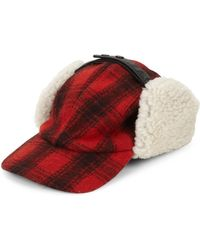 1852efccf4b Lyst - Crown Cap Fur-lined Knit Buffalo Check Aviator Hat in Natural ...
