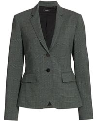 Theory Carissa Plaid Wool Button-front Blazer - Gray