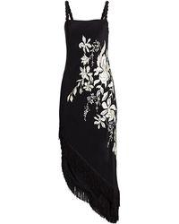 Johanna Ortiz Focus & Flower Asymmetric Fringe Midi Dress - Black