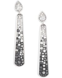 Plevé - Geometric Ombre Diamond & 18k White Gold Stiletto Drop Earrings - Lyst