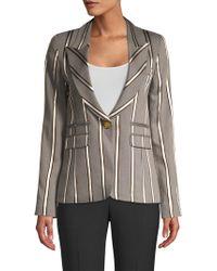 Smythe - Peaked Lapel Blazer In Grey Ribbon Stripe - Lyst