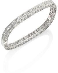 Roberto Coin - Princess Diamond & 18k White Gold Bangle - Lyst